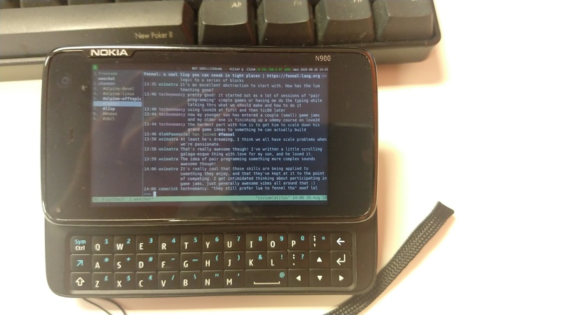 A look at the N900 keyboard + Weechat